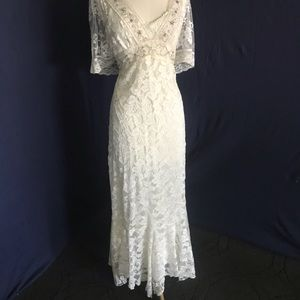 Spencer Alexis Gorgeous Ivory Silver Dress 8